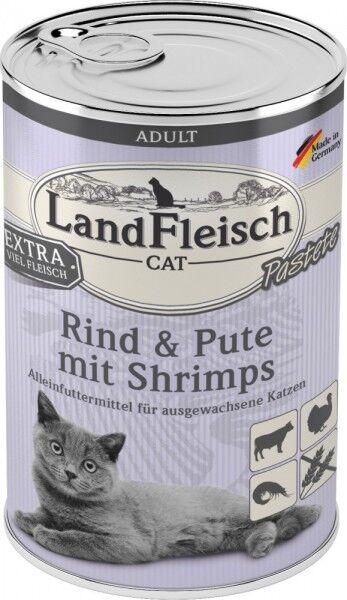 LandFleisch Cat Adult Pastete mit Rind+Pute+Shrimps 400 g