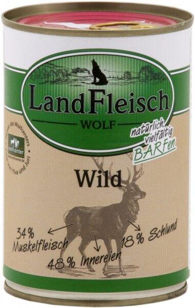LandFleisch Hunde Dose Wolf Sensibel 100% vom Wild 400g