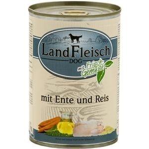 LandFleisch Hunde Dose Pur Ente + Reis mit Biogemüse 400g